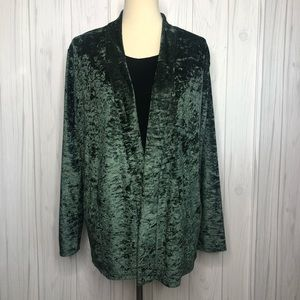(Urban Outfitters) Green Crushed Velvet Cardigan